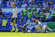 Sammy Ameobi goes down under a challenge  during the Sky Bet Championship match between Cardiff City and Fulham at the Cardiff City Stadium, Cardiff, Wales on 8 August 2015. Photo by Shane Healey.