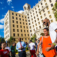 Alexei Ramirez signs autographs and greets fans outside the Hotel Nacional de Cuba as MLB players make a goodwill trip to Havana, Cuba. (Photo by Chip Litherland/The Players' Tribune)