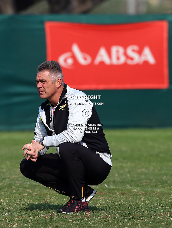 DURBAN, SOUTH AFRICA - AUGUST 25: Heyneke Meyer (Head Coach) of South Africa during the South African national rugby team training session at Moses Mabhida Outer Fields on August 25, 2015 in Durban, South Africa. (Photo by Steve Haag/Gallo Images)