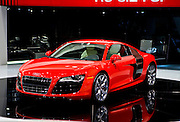 The Audi R8 V10 at the 2009 NAIAS, North American International Auto Show, held in Detroit Michigan.