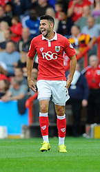 Bristol City's Derrick Williams Raleigh's the groups  - Photo mandatory by-line: Joe Meredith/JMP - Mobile: 07966 386802 - 27/09/2014 - SPORT - Football - Bristol - Ashton Gate - Bristol City v MK Dons - Sky Bet League One