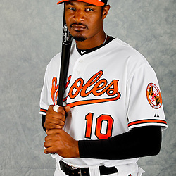 March 1, 2012; Sarasota, FL, USA; Baltimore Orioles center fielder Adam Jones (10) poses for a portrait during photo day at the spring training headquarters.  Mandatory Credit: Derick E. Hingle-US PRESSWIRE