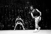 Action during the Senior Handball Championship final at Croke Park. The final was contested between Pat Kirby of Ennis, Co Clare and Pat Murphy of Wexford (in hooped shirt). Murphy was the eventual winner. <br /> <br /> 31/08/1974