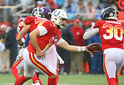 Jan 27, 2019; Orlando, FL, USA; AFC quarterback Andrew Luck of the Indianapolis Colts (12) hands the ball off to AFC running back James Conner of the Pittsburgh Steelers (30) in the NFL Pro Bowl football game at Camping World Stadium.  The AFC beat the NFC 26-7. (Steve Jacobson/Image of Sport)