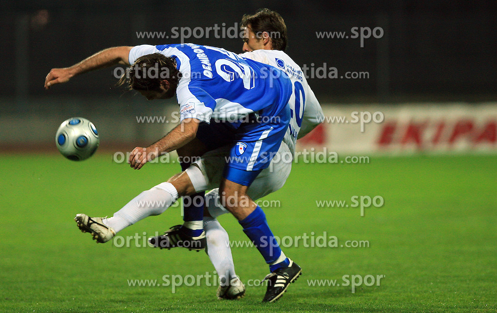 Enes Demirovic of Hit Gorica vs Dalibor Teinovic of Primorje at 27th Round of Slovenian First League football match between ND Hit Gorica and NK Primorje Ajdovscina in Sports park Nova Gorica, on April 8, 2009, in Nova Gorica, Slovenia. (Photo by Vid Ponikvar / Sportida)