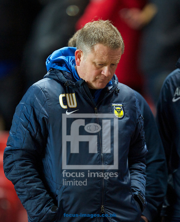 Picture by Alan Stanford/Focus Images Ltd +44 7915 056117<br /> 14/01/2014<br /> Manager Chris Wilder of Oxford United looks relaxed as his team go in at half time 0-2 up during the The FA Cup match at The Valley, London.