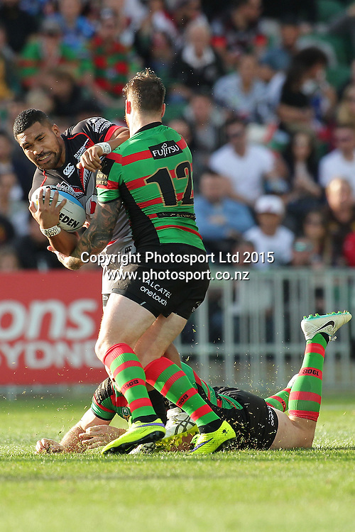PERTH, AUSTRALIA - JUNE 06:  Siliva Havili of the Warriors is tackled by Chris McQueen of the Rabbitohs during the 2015 NRL Round 13 Rugby League match between the Vodafone Warriors and The Rabbitohs at NIB Stadium, Perth, Australia on June 6, 2015. (Copyright photo Will Russell/www.Photosport.co.nz)