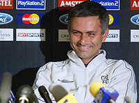 19/10/2004<br />Chelsea press conference and training session - Stamford Bridge.<br />Chelsea's manager Jose Mourinho smiles during the press conference.<br />Photo:Jed Leicester/BPI (back page images)