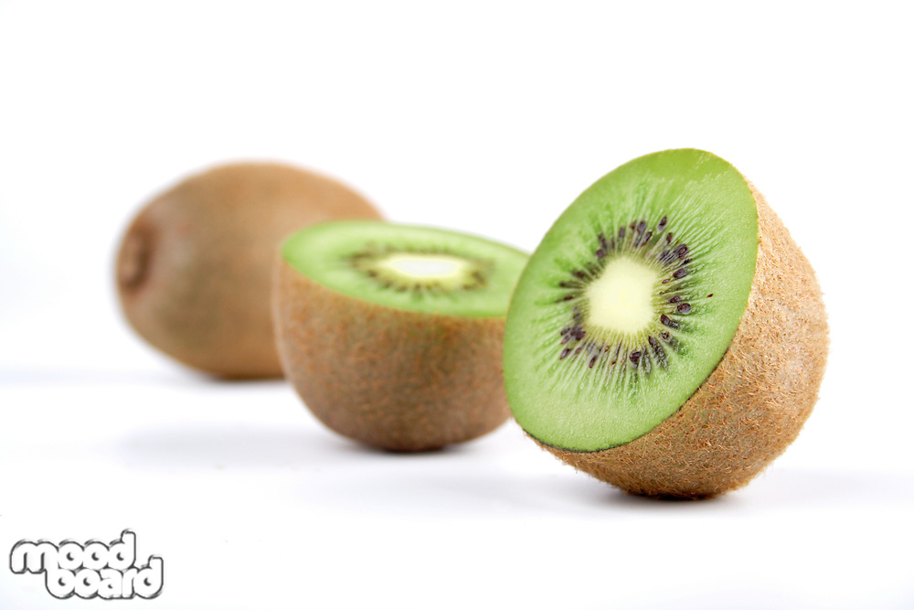 Studio shot of kiwis on white background