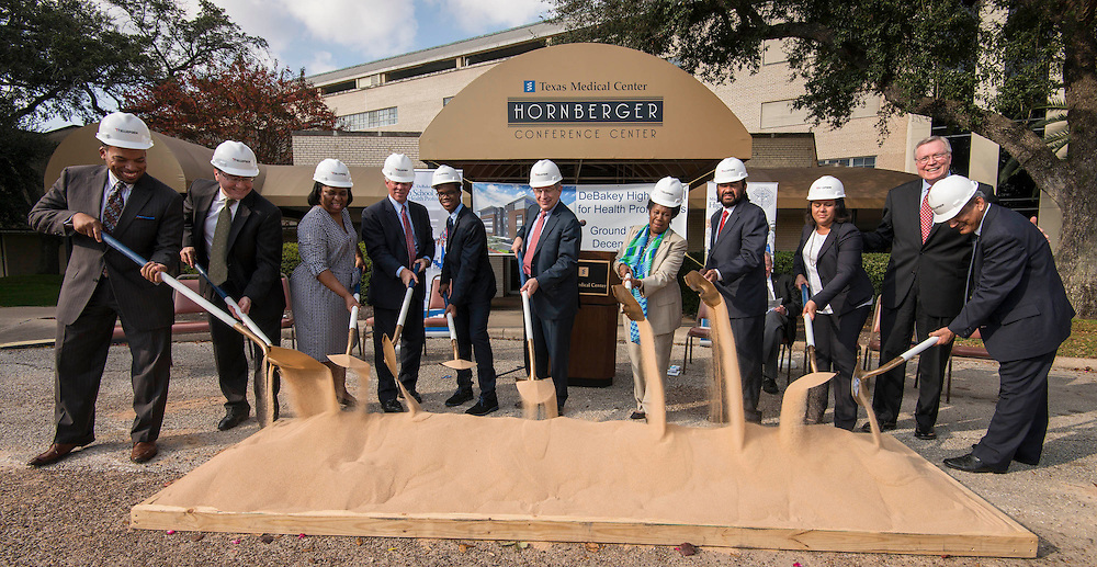 Special guests participate in a groundbreaking ceremony for the new DeBakey High School for Health Professionals, December 15, 2014.