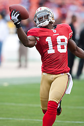 October 11, 2009; San Francisco, CA, USA;  San Francisco 49ers wide receiver Michael Spurlock (18) before the game against the Atlanta Falcons at Candlestick Park. Atlanta won 45-10.