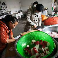 GAOBEIDIAN, 7.NOV. 2014 : Mitglieder der Farm des Rechten Weges bei der Zubereitung des Mittagessens.