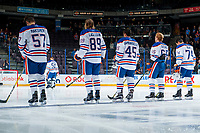 PENTICTON, CANADA - SEPTEMBER 9: Kirill Maksimov #57, William Lagesson #89, Joseph Gambardella #45, Chad Butcher #65, Ethan Bear #74 and Stuart Skinner #50 of Edmonton Oilers line up against the Winnipeg Jets on September 9, 2017 at the South Okanagan Event Centre in Penticton, British Columbia, Canada.  (Photo by Marissa Baecker/Shoot the Breeze)  *** Local Caption ***
