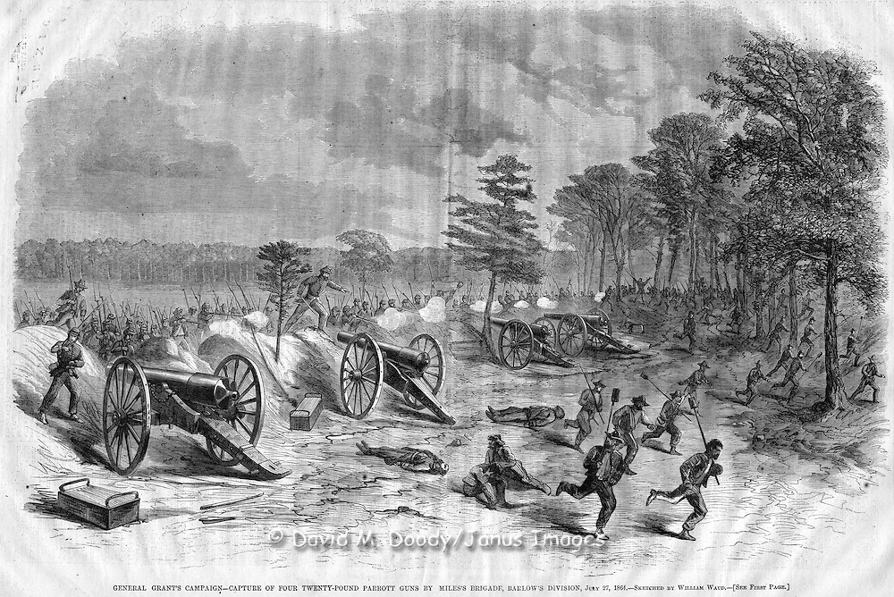 Civil War action before Petersburg, Virginia. Harper's Weekly, August 20, 1864. GENERAL GRANT'S CAMPAIGN, CAPTURE OF FOUR TWENTY-POUND PARROTT GUNS BY MILES'S BRIGADE, BARLOW'S DIVISION, JULY 27, 1864. SKETCHED BY WILLIAM WAUD.