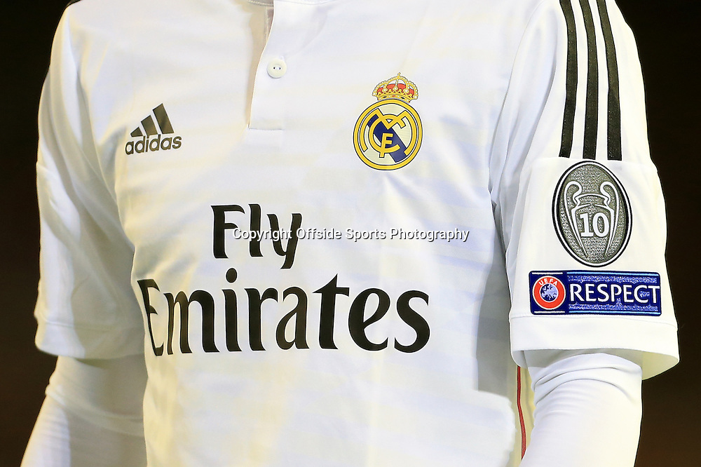22nd October 2014 - UEFA Champions League - Group B - Liverpool v Real Madrid - The logo on the Real Madrid sleeve denotes their 10 European Cup triumphs - Photo: Simon Stacpoole / Offside.