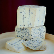 Top Cheese: Benectin.  Bottom: Ermite Cheese, both blue cheeses produced by the monks at Abbaye St. Benoit du Lac in the Eastern Townships of Quebec, Canada