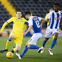Dundee v St Johnstone…10.03.18…  Dens Park    SPFL<br />Blair Alston tackles Greg Taylor<br />Picture by Graeme Hart. <br />Copyright Perthshire Picture Agency<br />Tel: 01738 623350  Mobile: 07990 594431