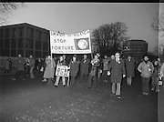 "H-Block Hunger-Strike Protest.   (M54)..1980..06.12.1980..12.06.1980..6th December 1980..In support of the prisioners on hunger strike in Northern Ireland a protest march was organised in Dublin. The march was to highlight the treatment of prisioners who wer on hunger strike and on the ""blanket"" protest. Part of the prisioner demand was that they be treated as political prisioners and not as criminals or terrorists..Picture shows a group from Cork who had travelled to Dublin to take part in the H-Block protest."