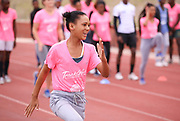 CAPE TOWN, SOUTH AFRICA - MARCH 10: an athlete shows her enthusiasm during the TrackGirlz events at University of Western Cape on March 10, 2018 in Cape Town, South Africa. (Photo by Roger Sedres/ImageSA)
