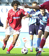 Nationwide Division 2 27-10-2001.Wycombe Wanderers FC v Swindon Town FC:.Swindon's, Paul  Edwards. moves inside to attack the Wycombe goal 18 yd box.... ...........