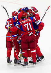 Players of Russia celebrate during ice-hockey match between Russia and Slovakia of Group A of IIHF 2011 World Championship Slovakia, on May 3, 2011 in Orange Arena, Bratislava, Slovakia. (Photo By Vid Ponikvar / Sportida.com)