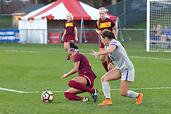 04 November 2016:  Sienna Cruz & Montana Portenier during an NCAA Missouri Valley Conference (MVC) Championship series women's semi-final soccer game between the Loyola Ramblers and the Evansville Purple Aces on Adelaide Street Field in Normal IL
