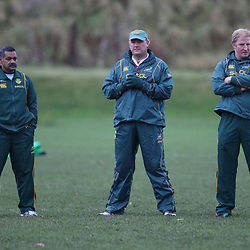 EDINBURGH, SCOTLAND - NOVEMBER 16,Peter de Villiers Head Coach with Gary Gold assistant coachand Dick Muir assistant coach   during the South African rugby team field training session and team announcement at Peffermill Sports Complex on November 16, 2010 in Edinburgh, Scotland<br /> Photo by Steve Haag / Gallo Images