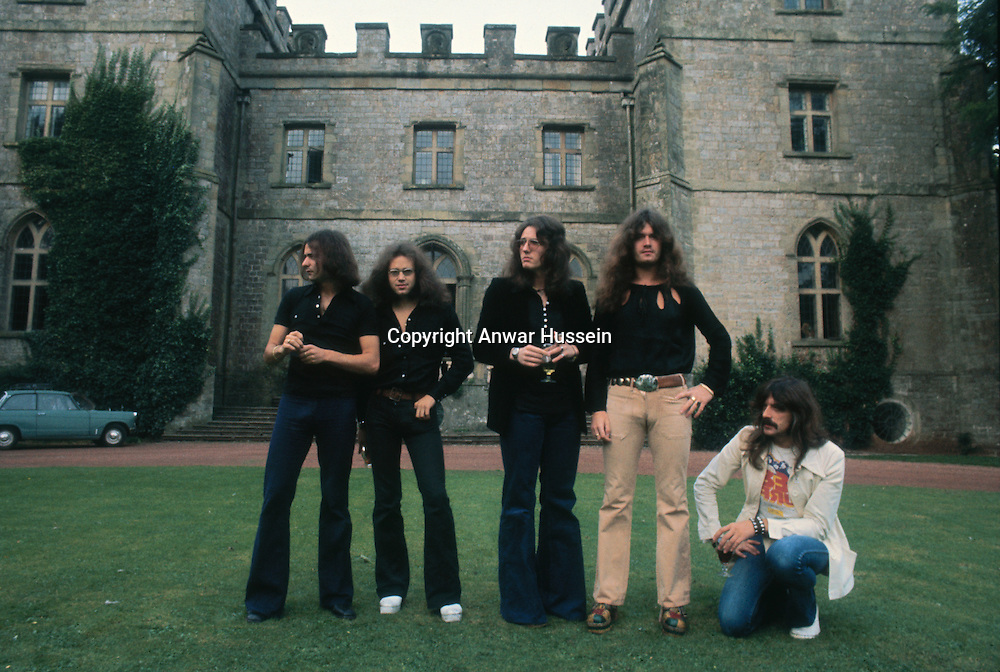 British heavy metal band Deep Purple, circa 1970. The band includes guitarist Ritchie Blackmore, drummer Ian Paice, singer David Coverdale and keyboard player Jon Lord.