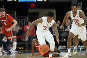 SMU Mustangs guard Kendric Davis (3) breaks on the ball after a steal with Isiaha Mike (15) trailing the play during an NCAA college basketball game, Wednesday, Nov. 27, 2019, in Dallas.SMU defeated Hartford 90-58. (Wayne Gooden/Image of Sport)