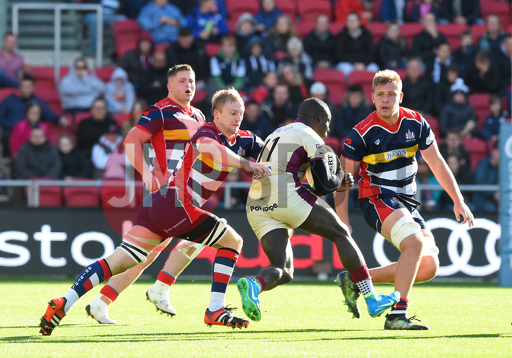 Dave Watchorn of Bristol Rugby tackles Tyson Lewis of Doncaster Knights - Mandatory by-line: Paul Knight/JMP - 22/10/2017 - RUGBY - Ashton Gate Stadium - Bristol, England - Bristol Rugby v Doncaster Knights - B&I Cup