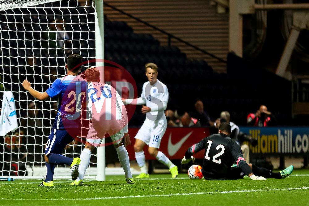 James Wilson of England U21 has a shot saved by Zack Steffen of USA U23  - Mandatory byline: Matt McNulty/JMP - 07966386802 - 03/09/2015 - FOOTBALL - Deepdale Stadium -Preston,England - England U21 v USA U23 - U21 International