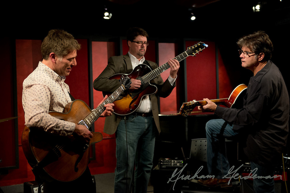 Guitarist Peter Bernstein checks sound with special guests Chip Henderson and Pat Bergeson before his solo guitar show at the Nashville Jazz Workshop.