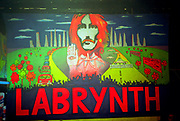 LABRYNTH mural, Dream FM Pirate Radio Benefit, Labyrinth Dalston, London, 1994.