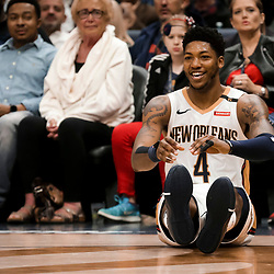 Mar 26, 2019; New Orleans, LA, USA; New Orleans Pelicans guard Elfrid Payton (4) reacts after being fouled during the second half against the Atlanta Hawks at the Smoothie King Center. Mandatory Credit: Derick E. Hingle-USA TODAY Sports