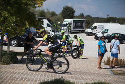 Jolien D'Hoore (BEL) of Mitchelton Scott Cycling Team warms up for Stage 1 of the Madrid Challenge - a 12.6 km team time trial, starting and finishing in Boadille del Monte on September 15, 2018, in Madrid, Spain. (Photo by Balint Hamvas/Velofocus.com)
