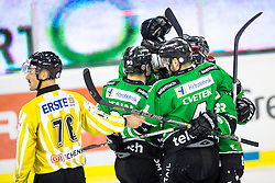14.11.2014, Hala Tivoli, Ljubljana, SLO, EBEL, HDD Telemach Olimpija Ljubljana vs Dornbirner Eishockey Club, 18. Runde, in picture Players of HDD Telemach Olimpija celebrate after scoring a goal during the Erste Bank Icehockey League 18. Round between HDD Telemach Olimpija Ljubljana and Dornbirner Eishockey Club at the Hala Tivoli, Ljubljana, Slovenia on 2014/11/14. Photo by Matic Klansek Velej / Sportida