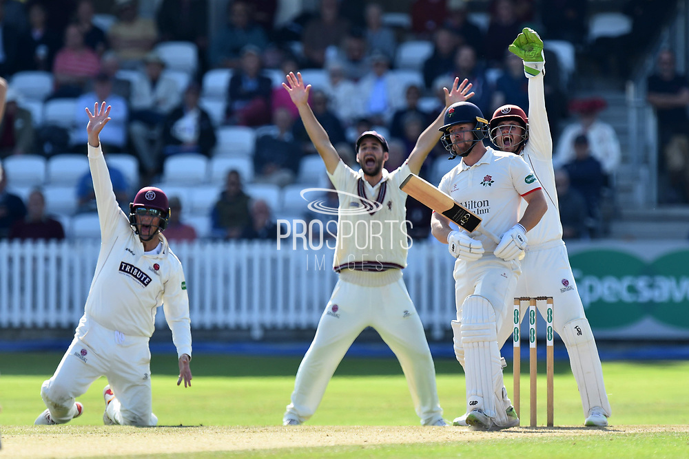 Steven Croft of Lancashire survives an appeal for LBW during the Specsavers County Champ Div 1 match between Somerset County Cricket Club and Lancashire County Cricket Club at the Cooper Associates County Ground, Taunton, United Kingdom on 5 September 2018.