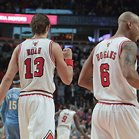 08 November 2010: Chicago Bulls' center #13 Joakim Noah and Chicago Bulls' shooting guard #6 Keith Bogans celebrates during the Chicago Bulls 94-92 victory over the Denver Nuggets at the United Center, in Chicago, Illinois, USA.
