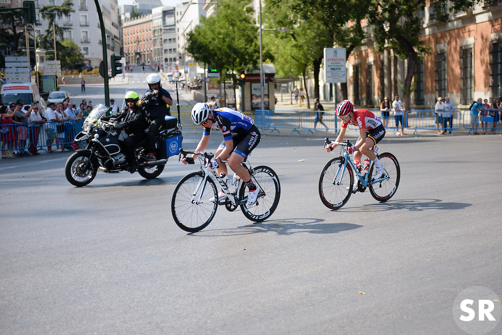 Simona Frapporti (Hitec Products) and Claudia Lichtenberg (Lotto Soudal) escape forming the most significant break of the day at Madrid Challenge by La Vuelta an 87km road race in Madrid, Spain on 11th September 2016.