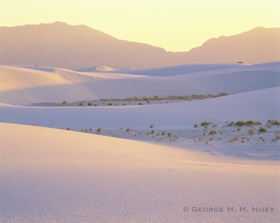 0213-1000C ~ Copyright:  George H. H. Huey ~ Sunset over gypsum dunes and the San Andres Mountains.  White Sands National Monument, New Mexico.