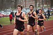 A trio of Grinnell runners, (left to right) Ben Tyler '14, Shyam Deshpande '11, and Alex Reich '11, lead the pack during the Men's 5000m run last weekend at the Cornell College Open track meet.