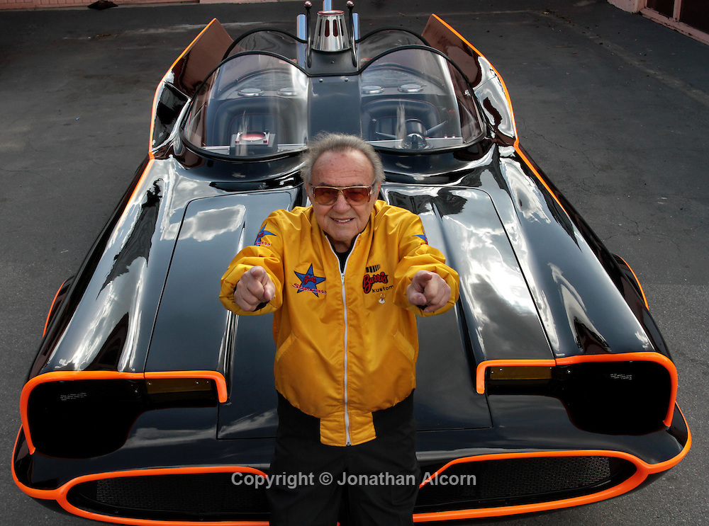 George Barris, creator and owner of the original Batmobile from the televisIon series with the oringianl Batmobile at Barris Kustom Industries, in North Hollywood, California, U.S., on Tuesday, Mar. 22, 2011. The original Batmobile sold for $4.62 million last night as Batman fans and automobile collectors joined a classic-car auction in Arizona. The owner and creator George Barris had previously vowed never to sell it.