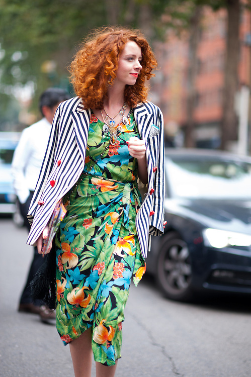 Floral Dress and Striped Blazer, Outside Dolce & Gabbana