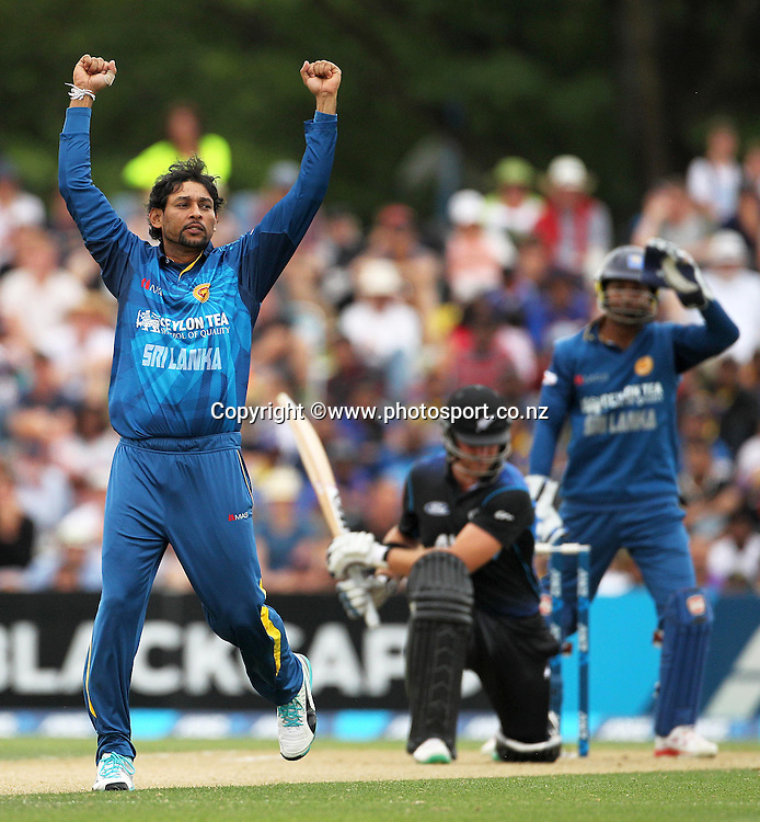 Tillakaratne Dilshan of Sri Lanka gets the wicket of Corey Anderson of the Black Caps during the first ODI cricket game between the Black Caps v Sri Lanka at Hagley Oval, Christchurch. 11 January 2015 Photo: Joseph Johnson / www.photosport.co.nz