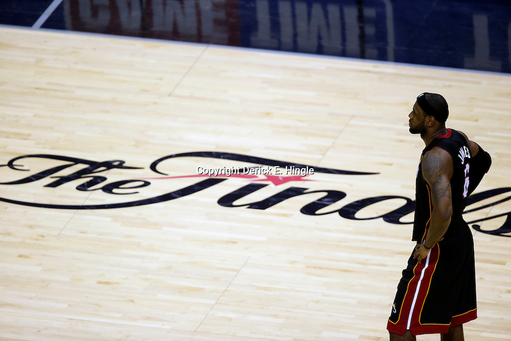 Jun 16, 2013; San Antonio, TX, USA; Miami Heat small forward LeBron James (6) reacts during the fourth quarter of game five in the 2013 NBA Finals against the San Antonio Spurs at the AT&T Center. Mandatory Credit: Derick E. Hingle-USA TODAY Sports