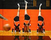 A group of Spruce Creek High School varsity cheerleaders prepare for a game against DeLand High School on Friday night, January 6, 2005 at SCHS in Port Orange, Fla. (Daytona Beach News-Journal, Criag LItten)