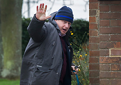 © Licensed to London News Pictures. 21/02/2016. Thame, UK. Boris Johnson waves as he leaves his Oxfordshire home. The London Mayor is yet to announce if he will support an EU exit vote or back the Prime Minister. Photo credit: Peter Macdiarmid/LNP