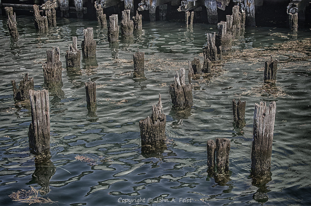 This is what's left from a pier in Gloucester, MA.  I like how the rows of pilings align in several ways along with some very interesting reflections in the water.  This color version shows some very different details from the black and white version.