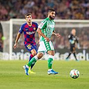 BARCELONA, SPAIN - August 25:  Nabil Fekir #8 of Real Betis defended by Sergi Roberto #20 of Barcelona during the Barcelona V  Real Betis, La Liga regular season match at  Estadio Camp Nou on August 25th 2019 in Barcelona, Spain. (Photo by Tim Clayton/Corbis via Getty Images)