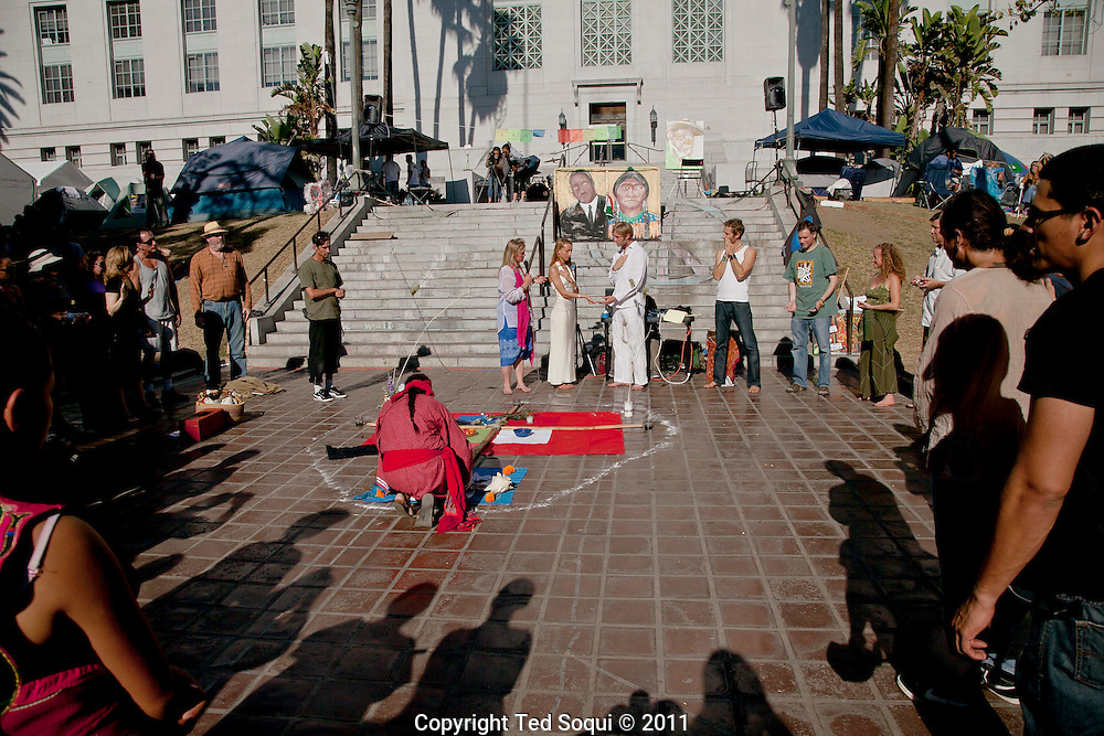 A wedding taking place at Occupy L.A.  on the south steps of L.A. city hall.<br /> Day 29 at Occupy L.A. at L.A. city hall.